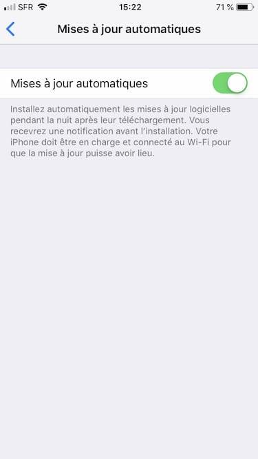 Activer les mises a jour automatiques pour iOS option activee