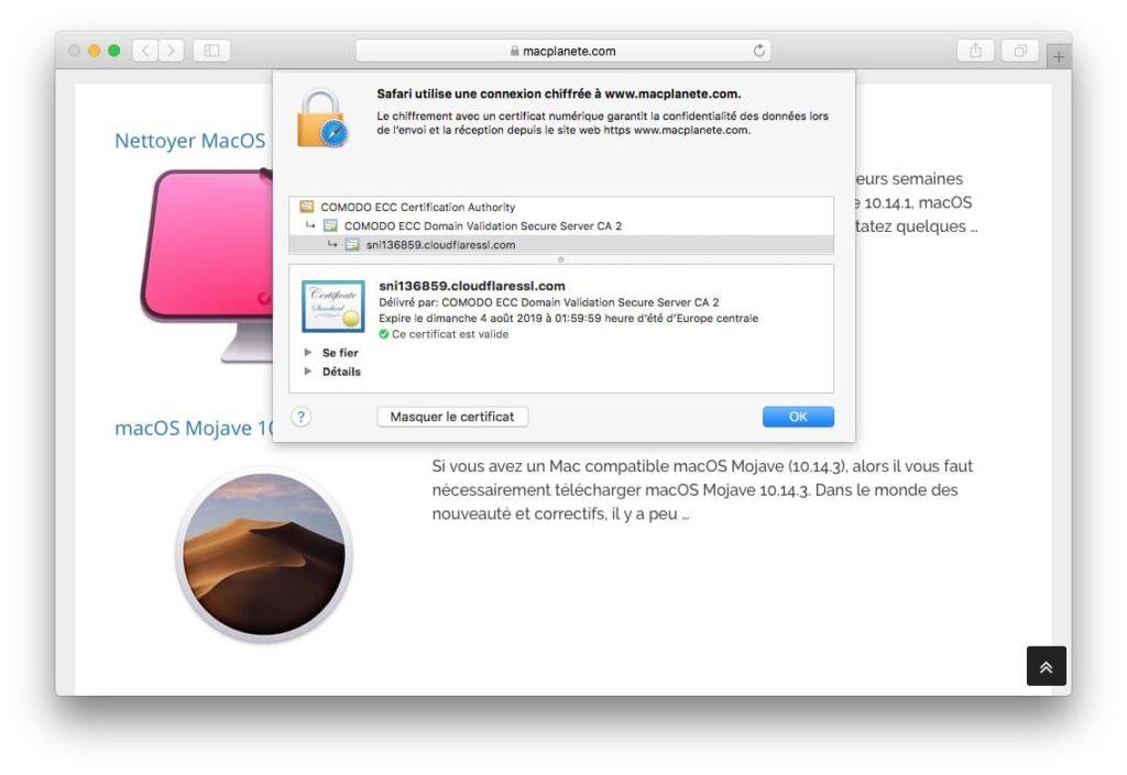 Afficher le certificat SSL dun site web avec Safari mac ce certificat est valide
