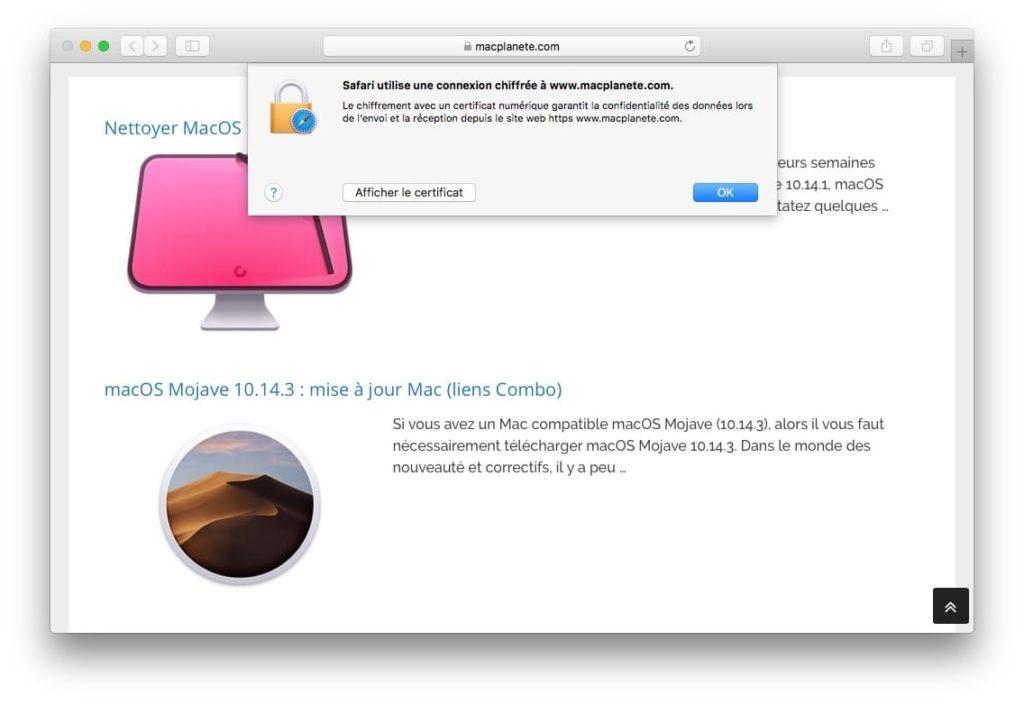 Afficher le certificat SSL dun site web avec Safari mac cliquez sur bouton afficher le certificat