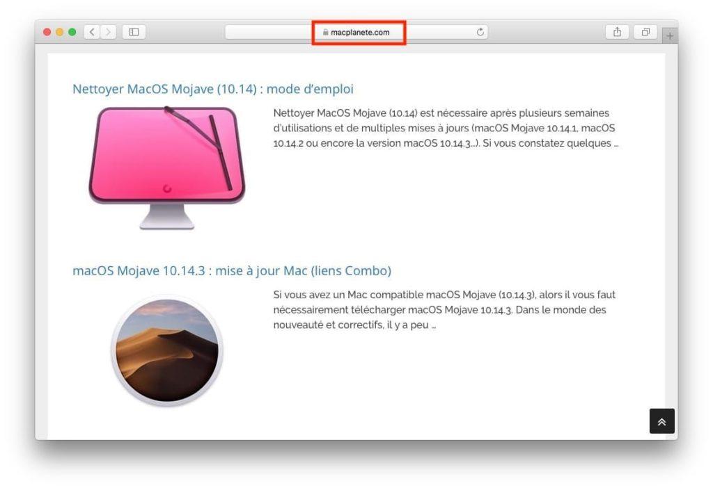Afficher le certificat SSL d'un site web avec Safari mac cliquez sur cadenas gris ou vert