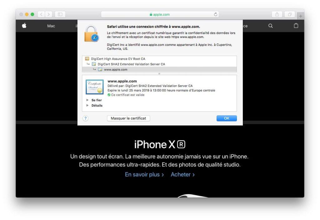 Afficher le certificat SSL dun site web avec safari voir certificat Apple