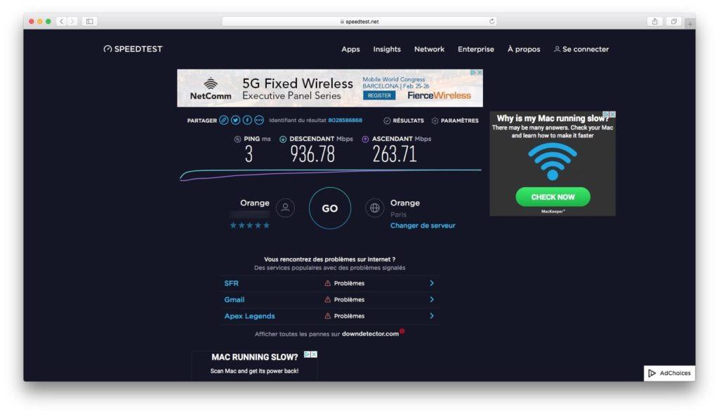 Configurer son Mac pour la fibre optique mesurer vitesse avec speedtest