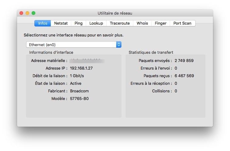 Configurer son Mac pour la fibre optique utilitaire reseau imac
