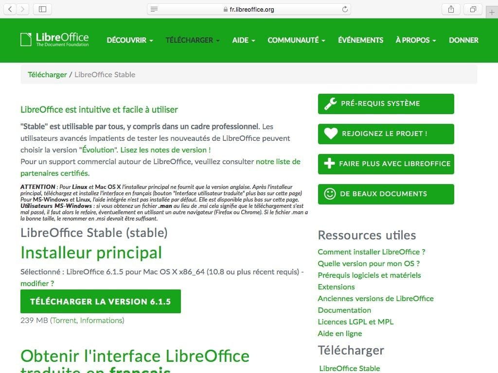 Installer LibreOffice sur Mac telecharger dmg