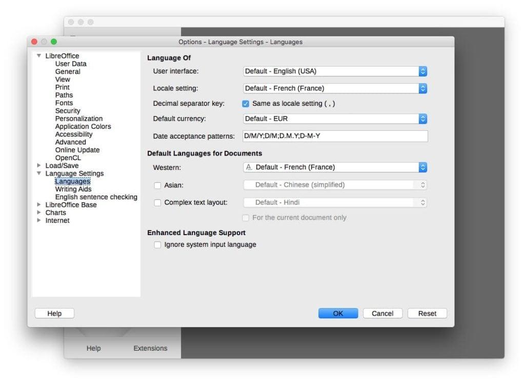 LibreOffice sur Mac en anglais par defaut