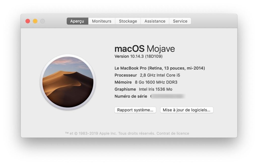 Mise à jour supplémentaire macOS 10.14.3 (18D109)
