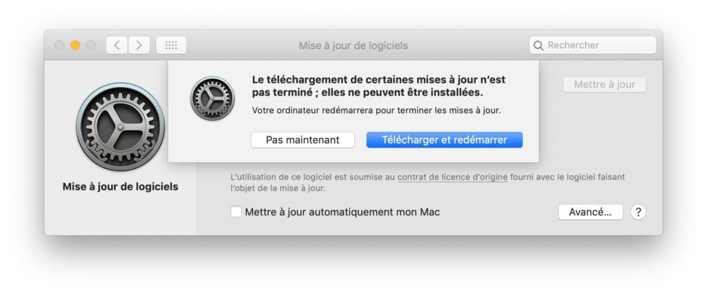 Mise a jour supplementaire macOS 10.14.3 telecharger et redemarrer