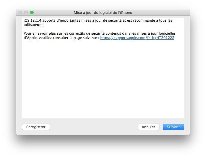 iOS 12.1.4 mise a jour pour facetime