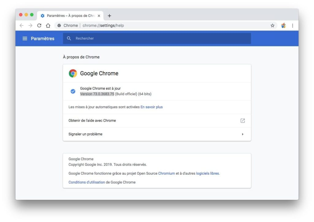 Activer le Dark Mode Google Chrome sur Mac Chrome 73