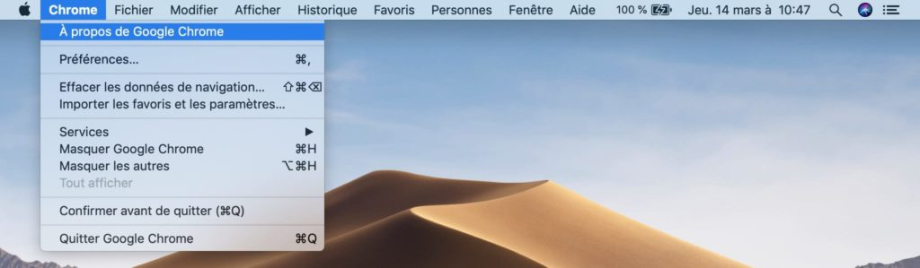 Activer le Dark Mode Google Chrome sur Mac OS Mojave 10.14