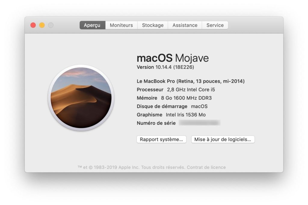 Mojave 10.14.4 version 18E226 en date