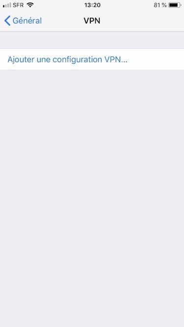 ajouter une configuration VPN sur iphone