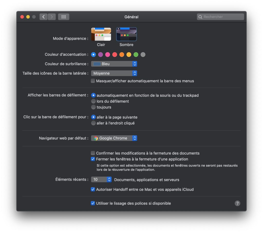 chrome mac dark mode comment faire