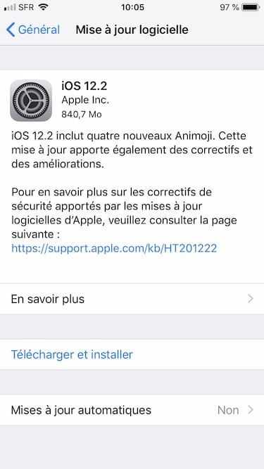 ios 12.2 mise a jour iphone