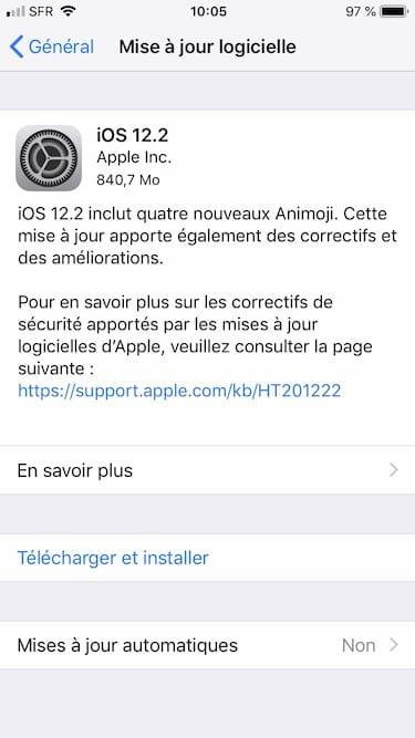 ios 12.2 mise a jour iphone