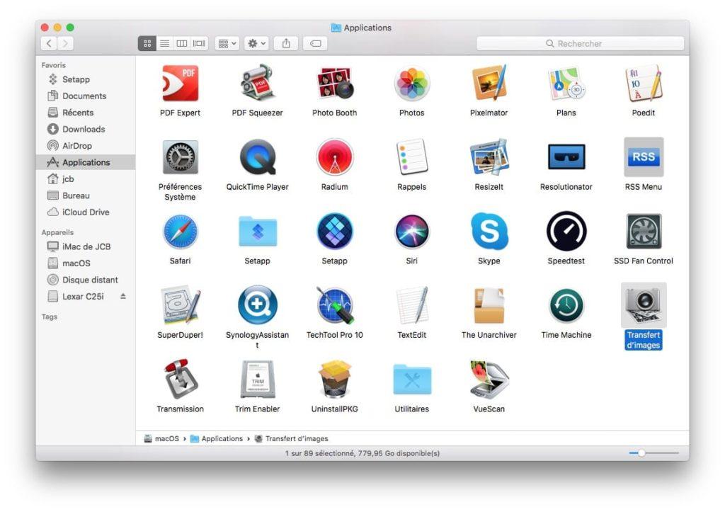 Importer les images et videos de son iPhone sur Mac avec Transfert d'images