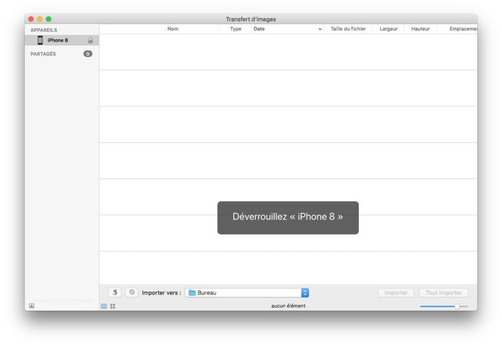 Transfert d'images mac déverrouillez iphone