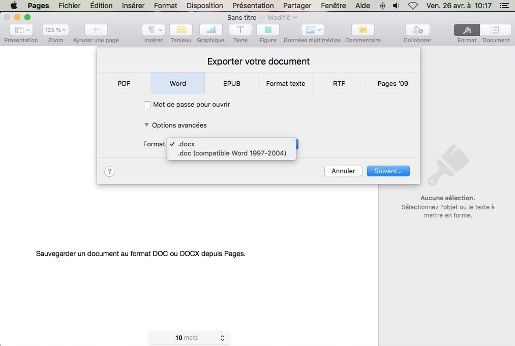 apple pages exporter document en doc ou docx