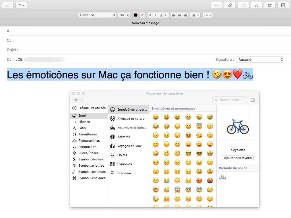 emoticone sur mac ctrl cmd spacebar