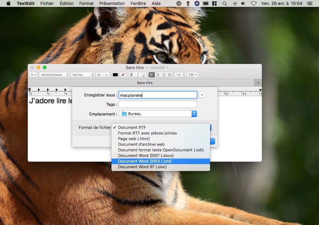 enregistrer sous document word sur mac