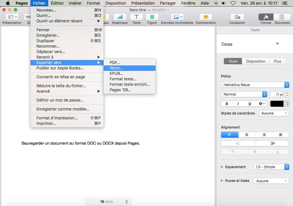 exporter vers word sur mac