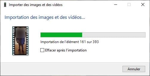 importation photos iphone sur PC