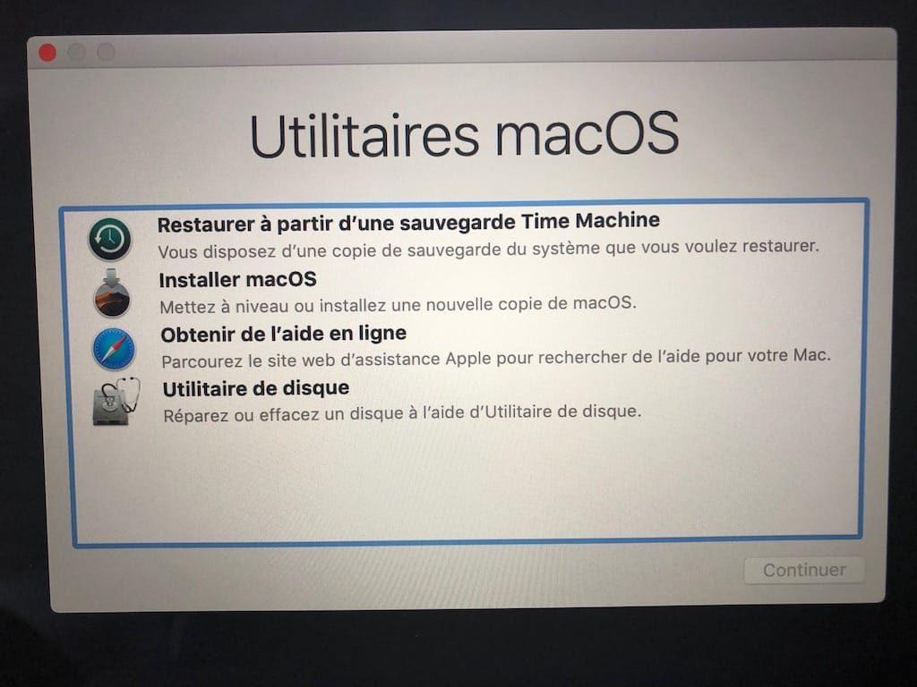 installer macos depuis une cle usb quand demarrage ne fonctionne plus