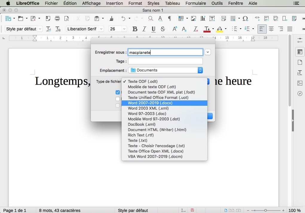 libreoffice mac enregistrer au format word doc docx