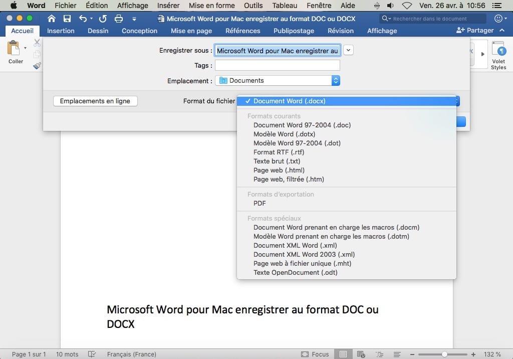 convertir fichier docx en doc pour mac