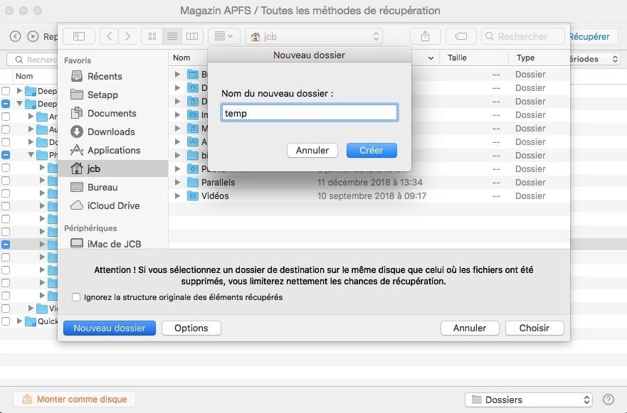 recuperation dossiers et fichiers perdus sur mac
