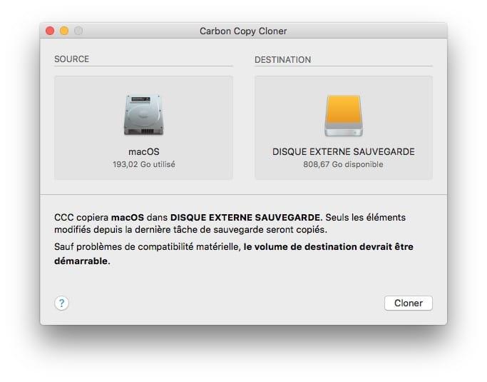 Copier le disque du Mac sur disque usb externe
