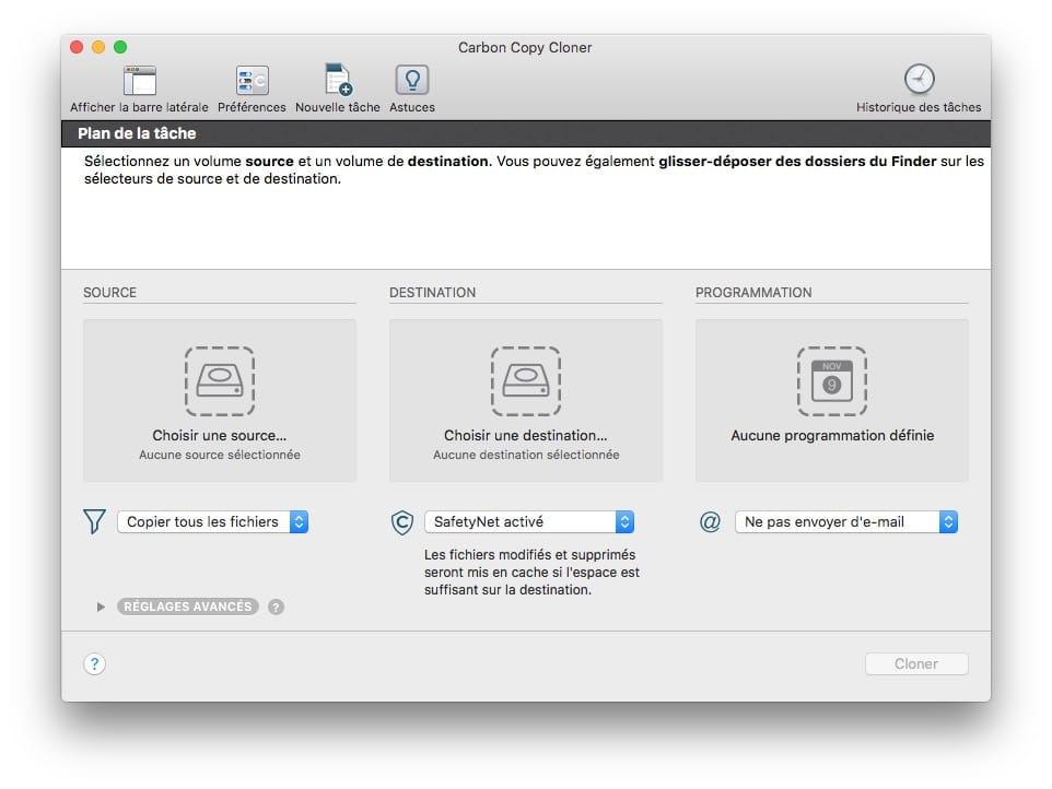 Copier le disque du mac CCC