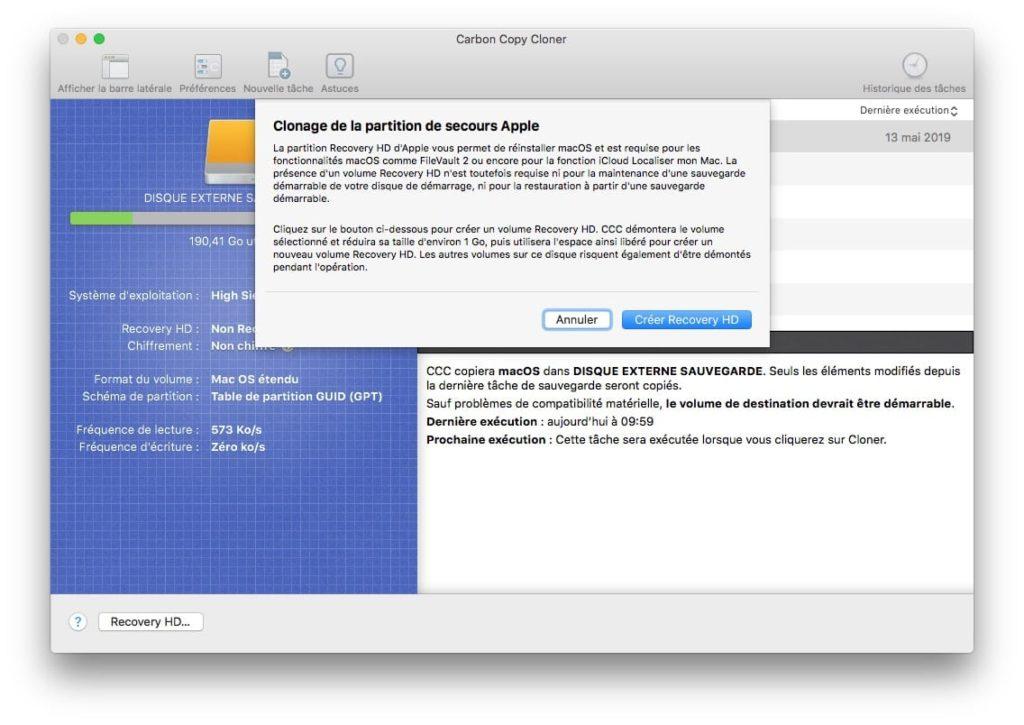 clonage partition de secours Apple