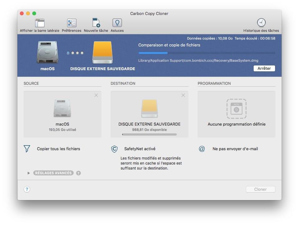 copie et comparaison de fichiers sur mac