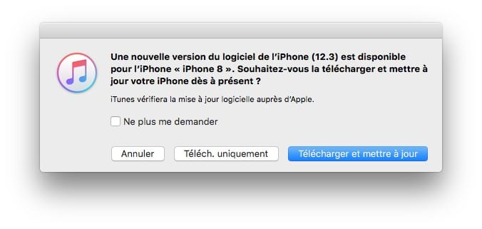 ios 12.3 maj via iTunes