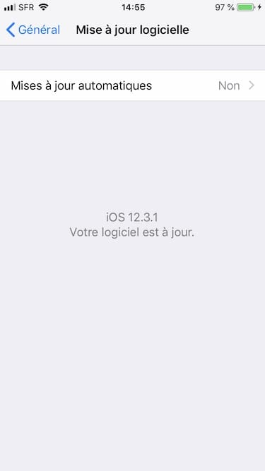 ios 12.3.1 votre logiciel est a jour