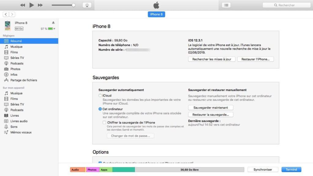 mettre a jour ios 12.3.1 avec iTunes