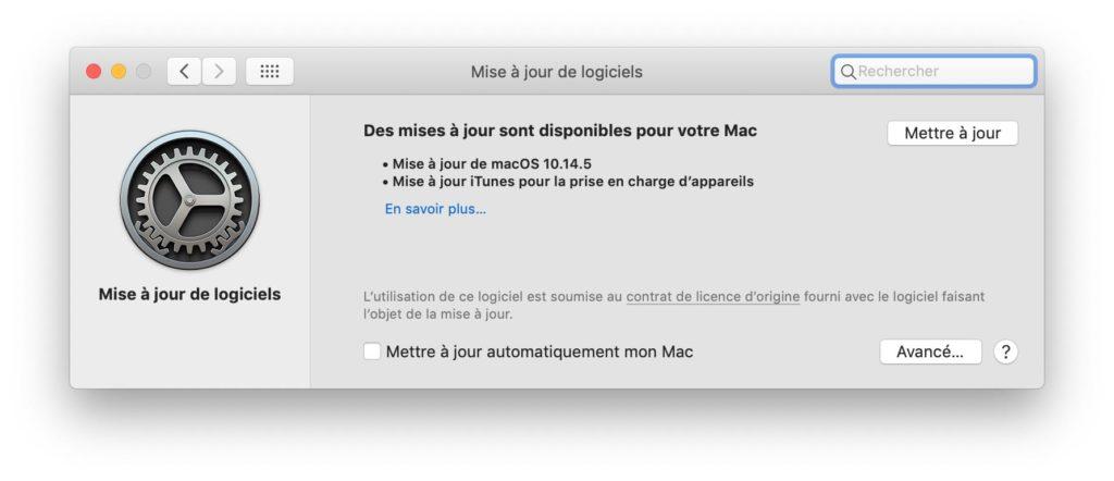 mise a jour logiciels macos 10.14.5