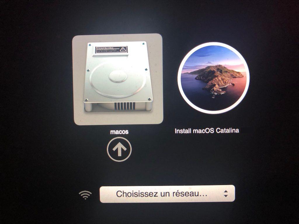 clef USB bootable de macOS Catalina demarrage