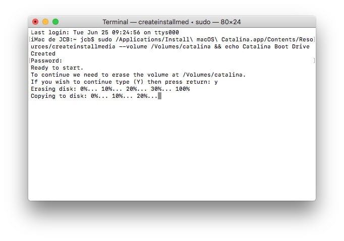 copier fichier installation catalina sur cle usb bootable