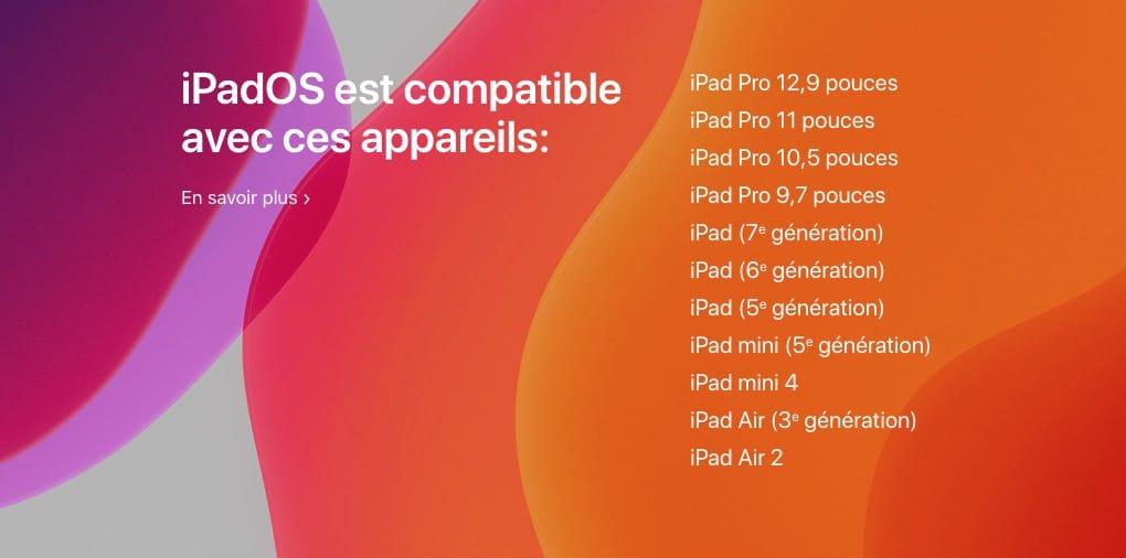 iPadOS 13 liste complete ipad compatibles