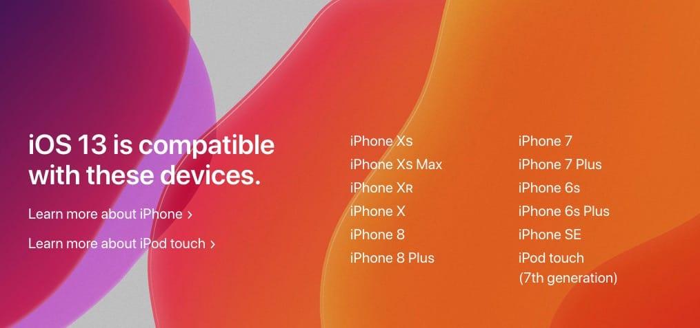 ios 13 liste de compatibilité iphone ipod touch