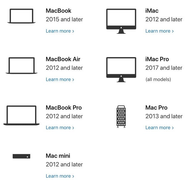 macos catalina configurations Mac compatibles