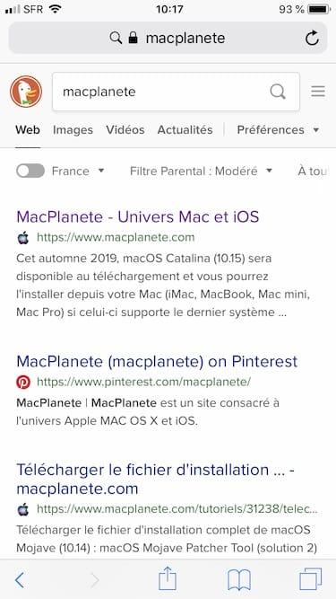 recherche internet avec DuckDuckGo Safari iphone
