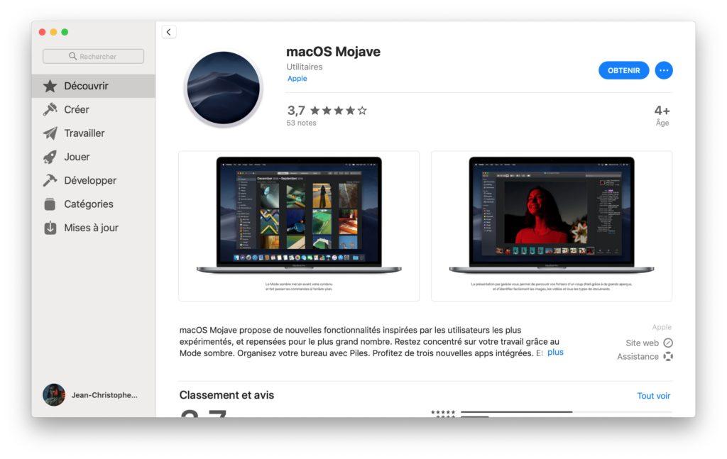 Downgrade macOS Catalina avec installation propre Mojave