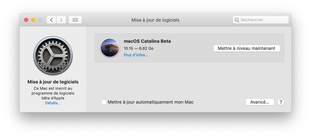 Installer macOS Catalina mise a jour de logiciels