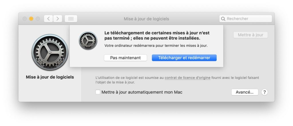 MacOS Mojave 10.14.6 telecharger et redemarrer