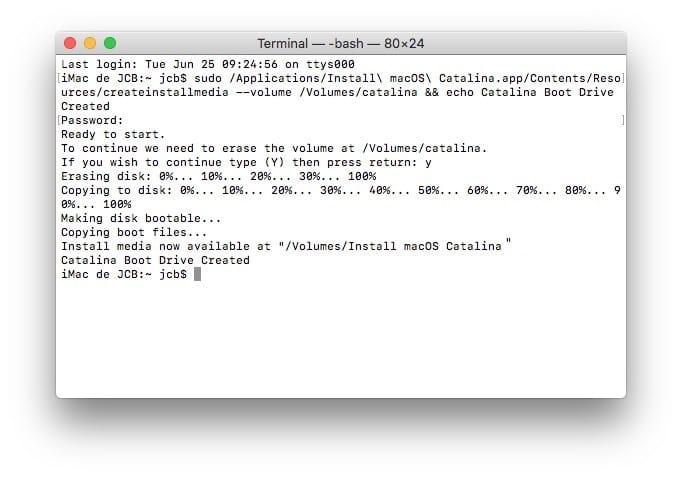 creer cle usb de demarrage macos cataline avec Terminal Mac
