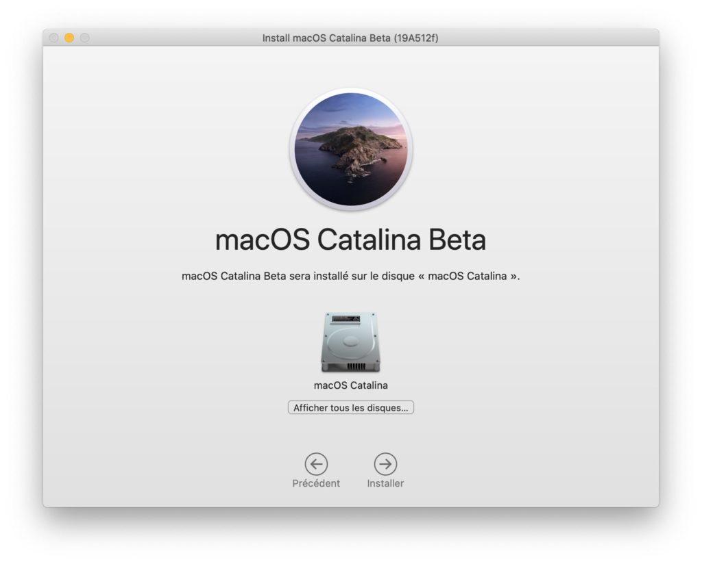 installation macos catalina 10 15 sur partition principale