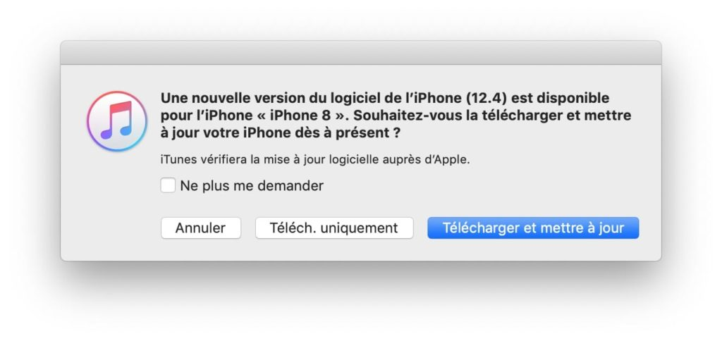 iphone ios 12.4 update avec iTunes